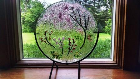 "14 inch scenic art glass disk w stand ""Spring"""